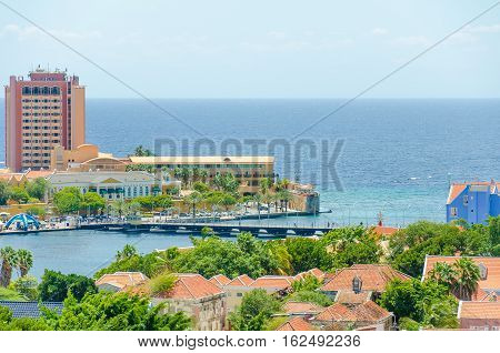 Colored Buildings Of Willemstad Downtown With Facades In Curacao