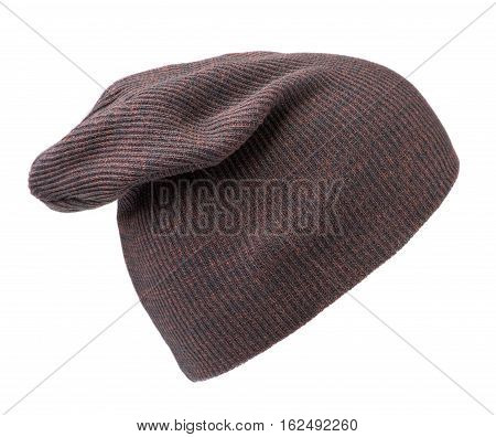 Hat Isolated On White Background .knitted Hat . Maroon Hat .