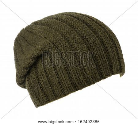 Hat Isolated On White Background .knitted Hat .dark Green Hat