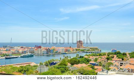 View Of  Willemstad  Downtown With Colorful Facades In Curacao