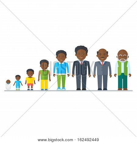 Aging concept of African American male characters. Family dynasty. The genealogy of ancestors to descendants. Flat vector cartoon cycle of life illustration. Objects isolated on a white background.