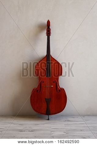 Double bass in a modern studio room. 3D illustration