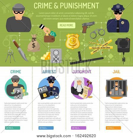 Crime and Punishment infographics with flat icons Policeman, arrest, judgment and jail. vector illustration