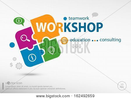Workshop Word Cloud On Colorful Jigsaw Puzzle.