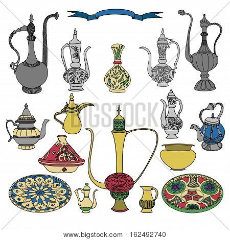 Colorful vector set of arabic ornamental crockery with teapots, pitchers, jug and plates.Oriental pottery muslim dishes crockery illustration on white background.Eid al Fitr.Ramadan.Eid al-Adha.Nowruz poster