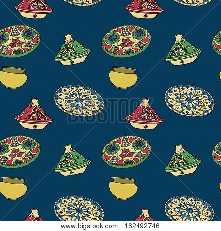 Vector colorful seamless pattern of arabic crockery. Oriental pottery dishes illustration on blue background. Moroccan crockery pattern. Tajine background. Eid al Fitr. Ramadan. Eid al-Adha. Nowruz