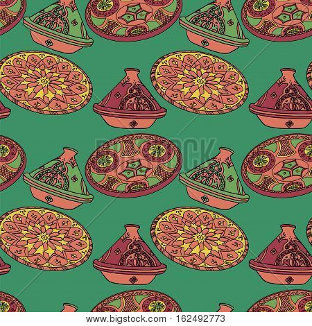 Vector colorful seamless pattern of arabic crockery. Oriental pottery dishes illustration on green background. Moroccan tajine pattern. Eid al Fitr. Ramadan. Eid al-Adha. Nowruz