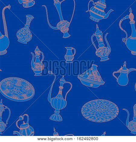Seamless vector pattern of arabic crockery. Oriental pottery dishes illustration on blue background. Moroccan tajine pattern.