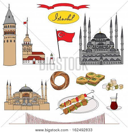 Colorful Istanbul tourist isolated object vector set. Galata Tower, Maiden's Tower, Blue Mosque, Hagia Sophia, Bosphorus Bridge, Simit, Baklava, Turkish Delight, Tea, Kebab, Turkish flag.
