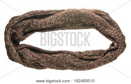 Scarf Isolated On White Background.scarf  Top View .brown Scarf