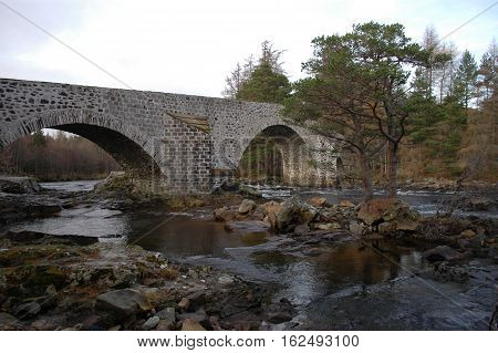 The Old Bridge of Dee, Invercauld, Braemar.  This was the crossing point of the military road from Blairgowrie to Inverness built by General Caulfield.