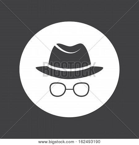 Unknown man in hat and glasses. Detective. Spy