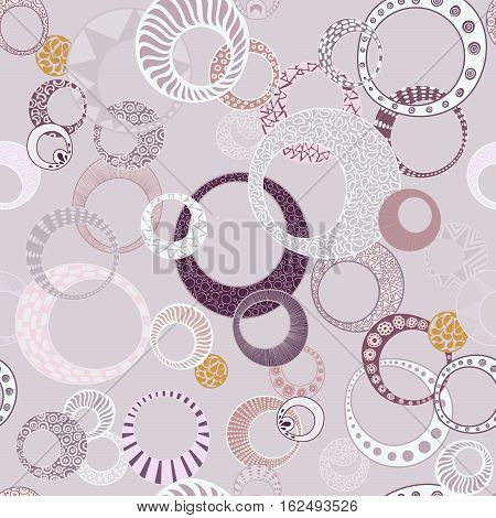 Geometric Circles Seamless Repeating Pattern on Purple