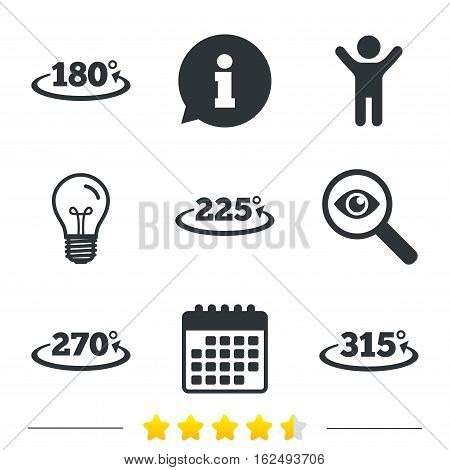 Angle 180-315 degrees icons. Geometry math signs symbols. Full complete rotation arrow. Information, light bulb and calendar icons. Investigate magnifier. Vector