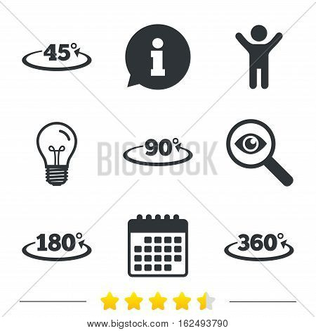 Angle 45-360 degrees icons. Geometry math signs symbols. Full complete rotation arrow. Information, light bulb and calendar icons. Investigate magnifier. Vector