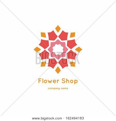 Decorative flower element. Ornamental vector symbols. Circle colorful icon. Isolated abstract colorful vector logo. Vintage mandala logotype. Kaleidoscope flower.
