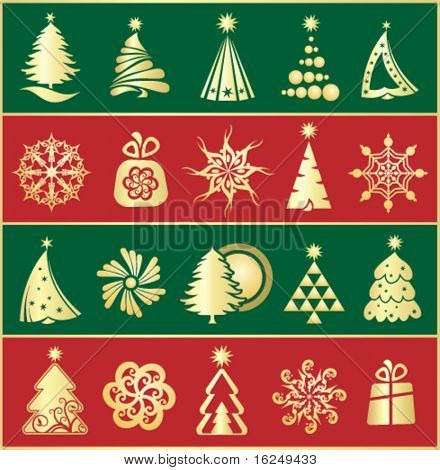 design gold christmas elements