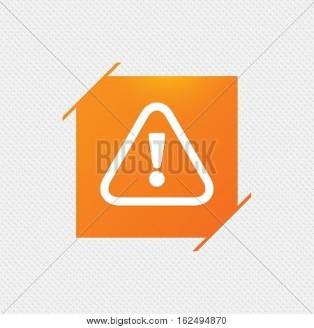 Attention sign icon. Exclamation mark. Hazard warning symbol. Orange square label on pattern. Vector