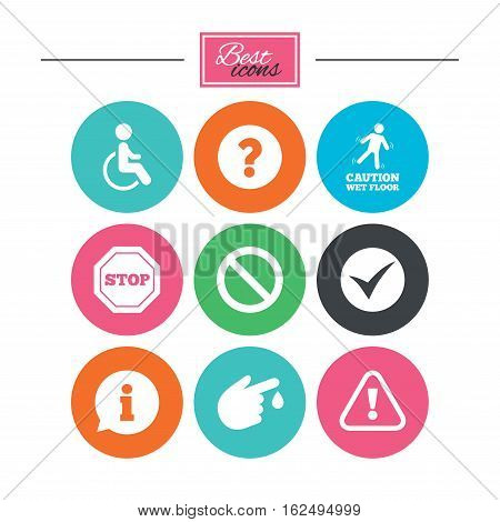 Attention caution icons. Question mark and information signs. Injury and disabled person symbols. Colorful flat buttons with icons. Vector