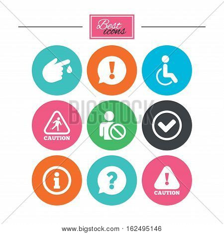 Caution and attention icons. Question mark and information signs. Injury and disabled person symbols. Colorful flat buttons with icons. Vector