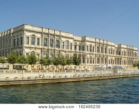 Dolmabahce Palace Located By The River In Istambul