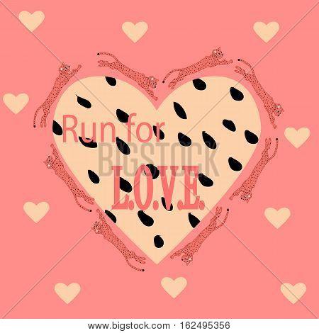 an illustration of  jumping cheetahs and make a heart shape