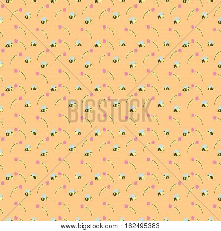 a seamless peach pattern decorated with bees and stalks of flowers