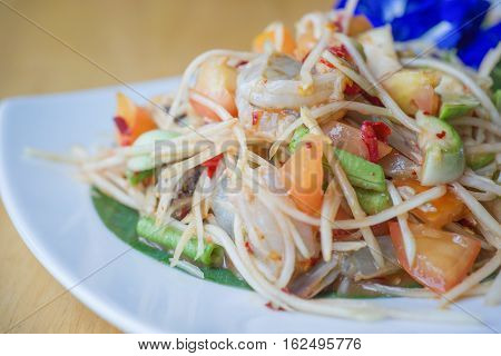 Som Tum or Papaya Salad Papaya Pok Pok Thai Traditional Cuisine Popular Thai Food.