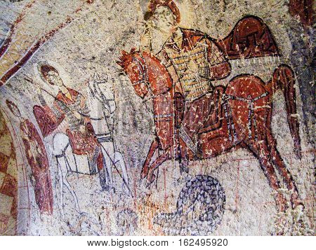 Saint George Fresco In Church In Goreme, Cappadocia