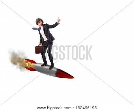 Businessman flying over a rocket. Increase the climb to success concept