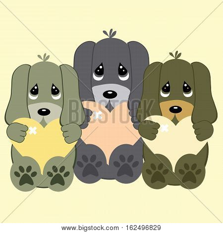 an illustratio of three litte cute puppies who's having love sick