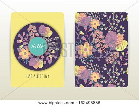 Cover design with floral pattern. Hand drawn creative flowers. Colorful artistic background with blossom. It can be used for invitation card cover book catalog. Size A4. Vector illustration eps10