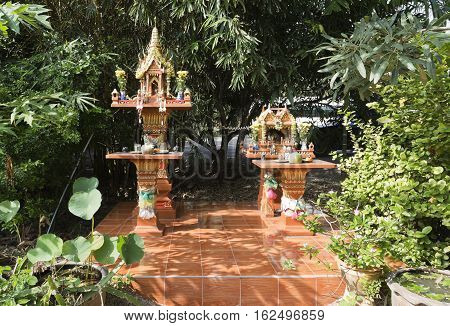A spirit house is a shrine to the protective spirit of a place that is common throughout Thailand