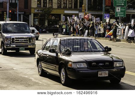 Northampton Massachusetts USA - October 8 2008: Mel Gibson driving car while shooting a scene for the 2010 movie