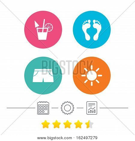 Beach holidays icons. Cocktail, human footprints and swimming trunks signs. Summer sun symbol. Calendar, cogwheel and report linear icons. Star vote ranking. Vector