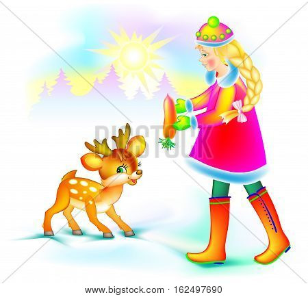 Illustration of beautiful girl feeding little fawn in winter, vector cartoon image.
