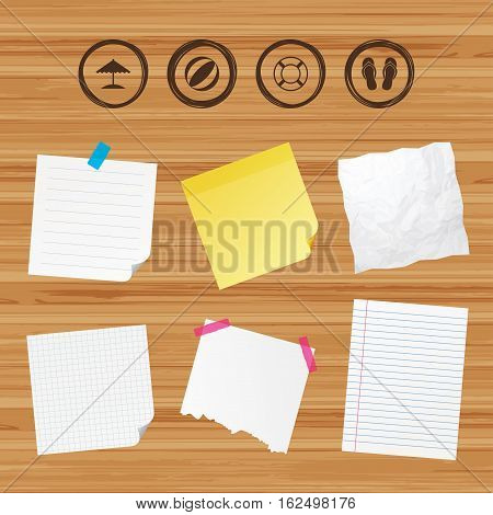 Business paper banners with notes. Beach holidays icons. Ball, umbrella and flip-flops sandals signs. Lifebuoy symbol. Sticky colorful tape. Vector