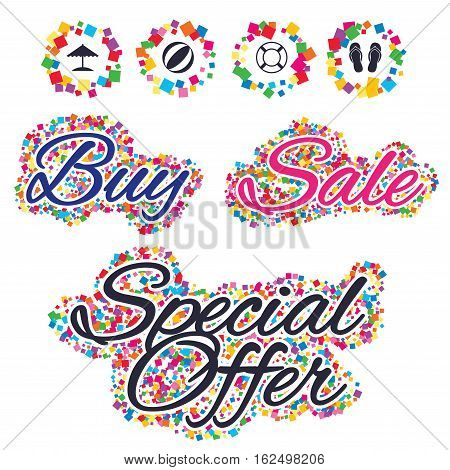 Sale confetti labels and banners. Beach holidays icons. Ball, umbrella and flip-flops sandals signs. Lifebuoy symbol. Special offer sticker. Vector