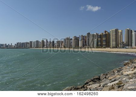 Skyline of Fortaleza city, Ceara, Brazil. Viewed from the ocean.