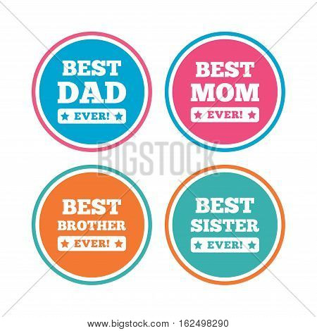 Best mom and dad, brother and sister icons. Award with exclamation symbols. Colored circle buttons. Vector