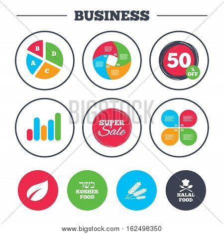 Business pie chart. Growth graph. Natural food icons. Halal and Kosher signs. Gluten free. Chief hat with fork and spoon symbol. Super sale and discount buttons. Vector