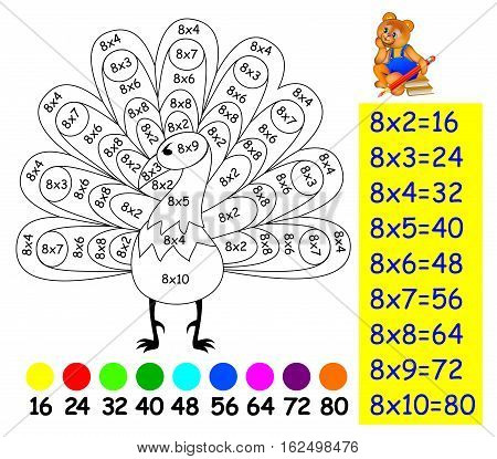 Exercise for children with multiplication by eight. Need to paint image in relevant color. Developing skills for counting and multiplication. Vector image.
