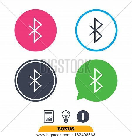 Bluetooth sign icon. Mobile network symbol. Data transfer. Report document, information sign and light bulb icons. Vector