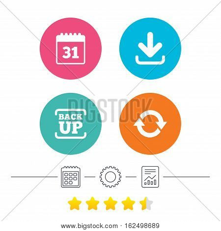 Download and Backup data icons. Calendar and rotation arrows sign symbols. Calendar, cogwheel and report linear icons. Star vote ranking. Vector