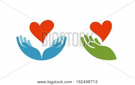 Heart in hand symbol or icon. Logo template for charity, health. Vector illustration isolated on white background