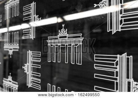 Brandenburg Gate Icons On Bvg Subway Train (u-bahn) Window