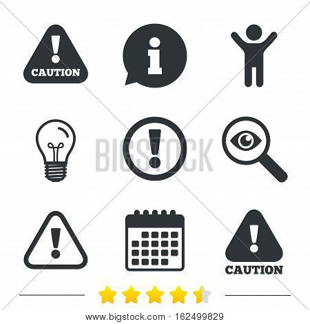 Attention caution icons. Hazard warning symbols. Exclamation sign. Information, light bulb and calendar icons. Investigate magnifier. Vector