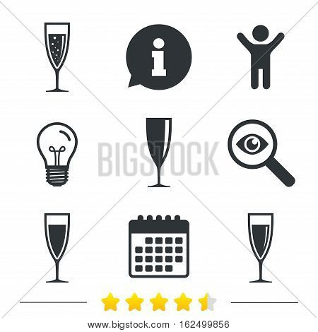 Champagne wine glasses icons. Alcohol drinks sign symbols. Sparkling wine with bubbles. Information, light bulb and calendar icons. Investigate magnifier. Vector