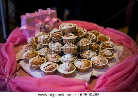 wedding cakes lie on table, wedding ceremony