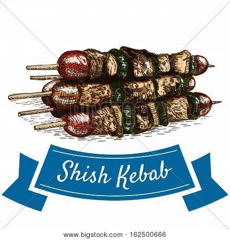 Shish Kebab colorful illustration. Vector illustration of turkish cuisine.